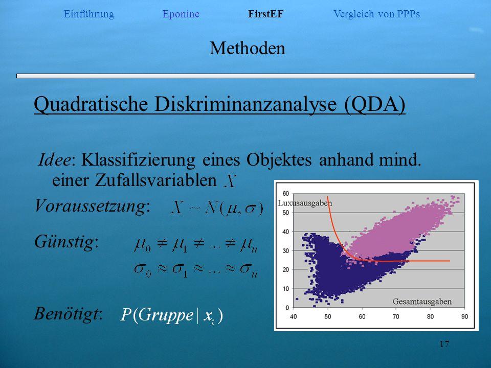 17 Methoden Quadratische Diskriminanzanalyse (QDA) Idee: Klassifizierung eines Objektes anhand mind. einer Zufallsvariablen Voraussetzung: Günstig: Be