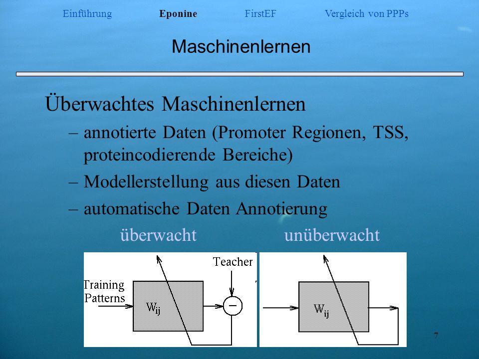 7 Maschinenlernen Überwachtes Maschinenlernen –annotierte Daten (Promoter Regionen, TSS, proteincodierende Bereiche) –Modellerstellung aus diesen Date