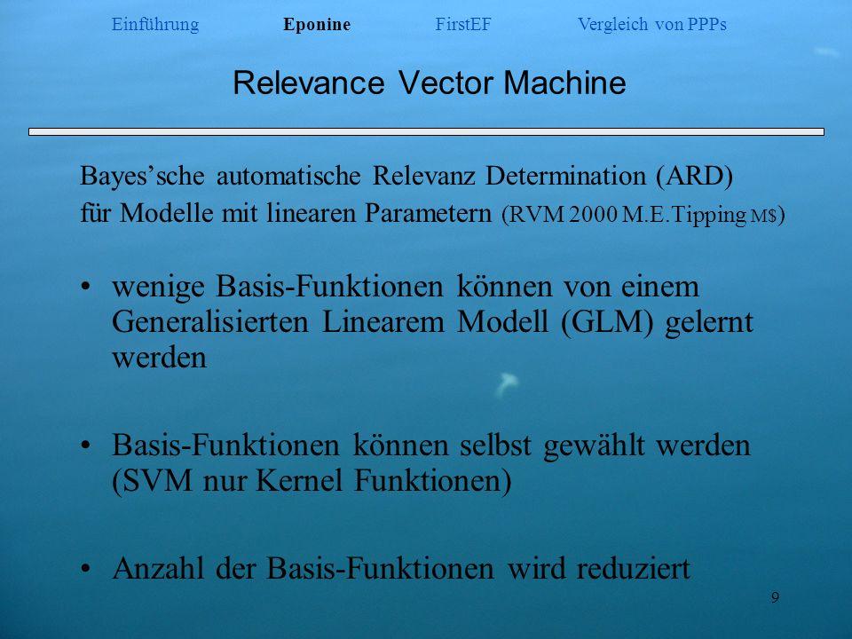 9 Relevance Vector Machine Bayessche automatische Relevanz Determination (ARD) für Modelle mit linearen Parametern (RVM 2000 M.E.Tipping M$ ) wenige B