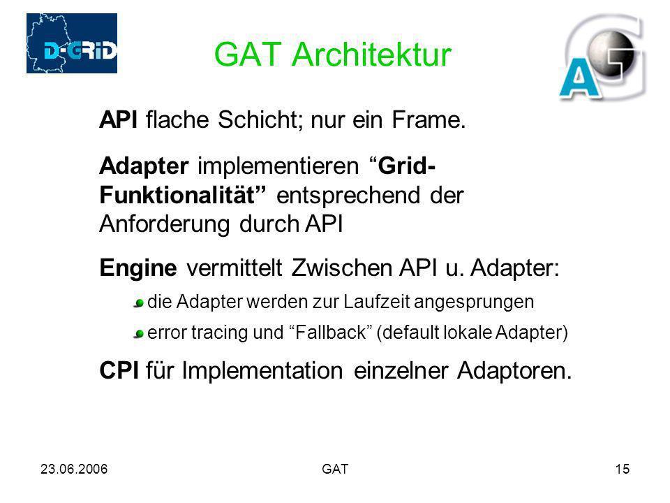 23.06.2006GAT15 GAT Architektur API flache Schicht; nur ein Frame. Adapter implementieren Grid- Funktionalität entsprechend der Anforderung durch API
