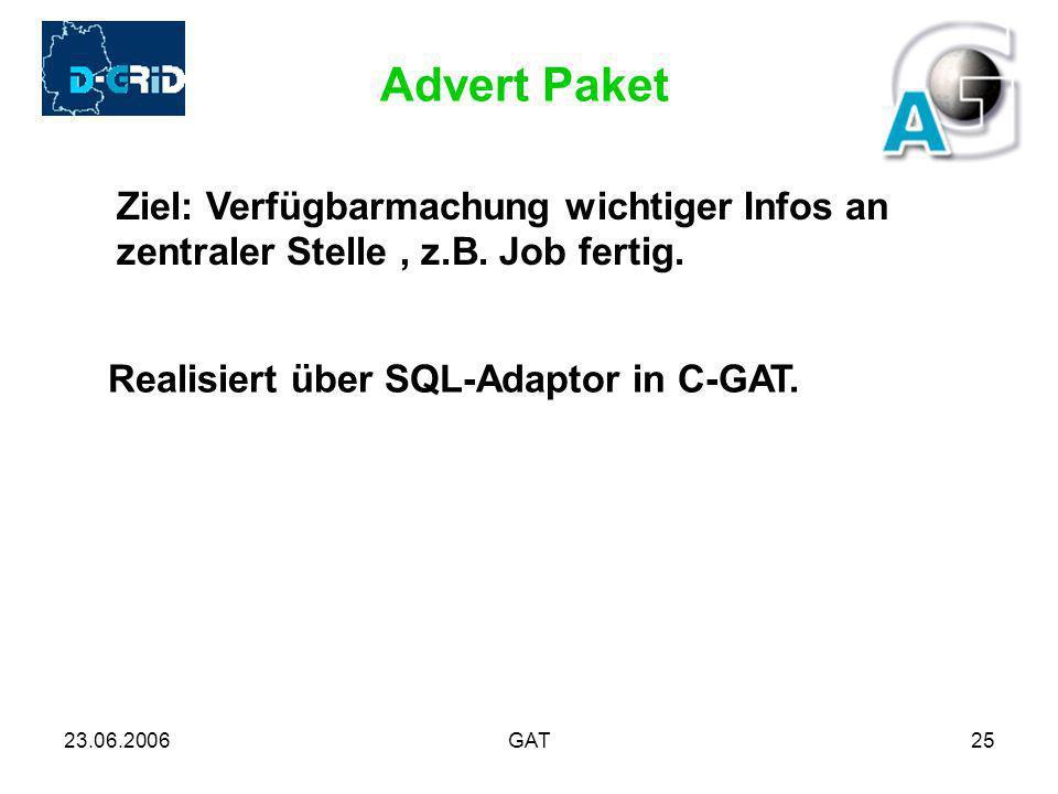 23.06.2006GAT25 Advert Paket Ziel: Verfügbarmachung wichtiger Infos an zentraler Stelle, z.B. Job fertig. Realisiert über SQL-Adaptor in C-GAT.