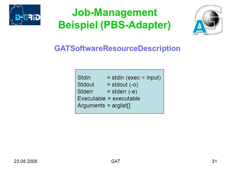 23.06.2006GAT31 Job-Management Beispiel (PBS-Adapter) GATSoftwareResourceDescription Stdin = stdin (exec < input) Stdout = stdout (-o) Stderr = stderr (-e) Executable = executable Arguments = arglist[]