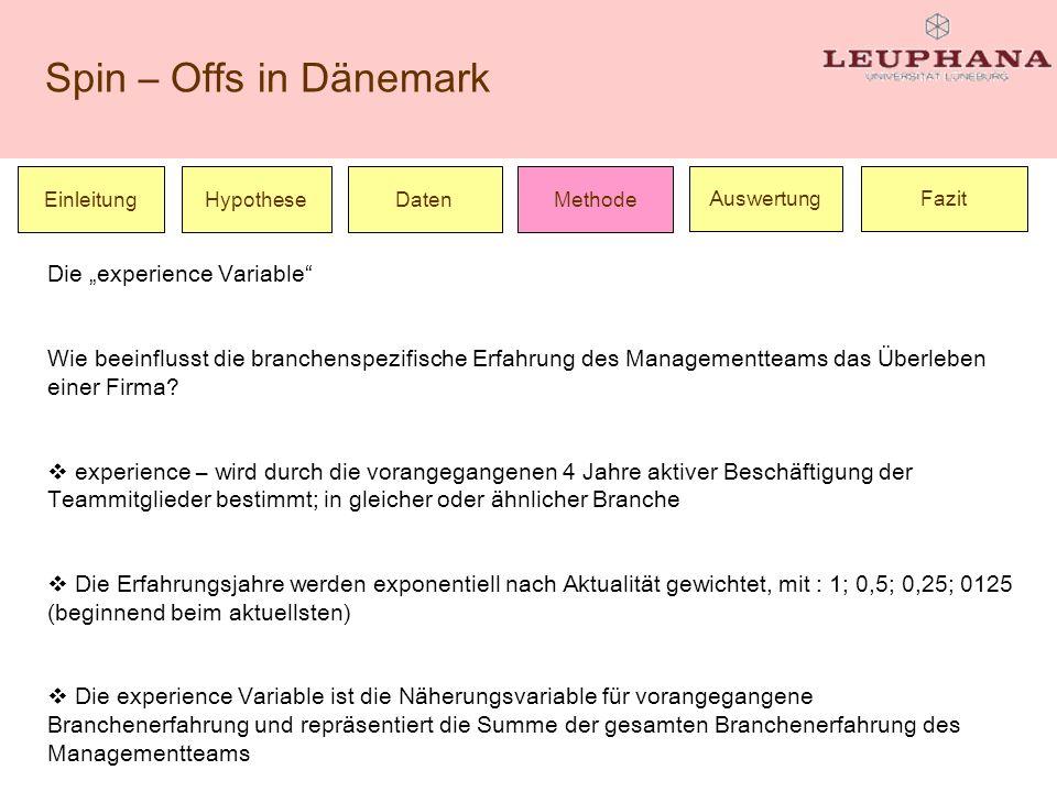 Spin – Offs in Dänemark Einleitung Die experience Variable Wie beeinflusst die branchenspezifische Erfahrung des Managementteams das Überleben einer F