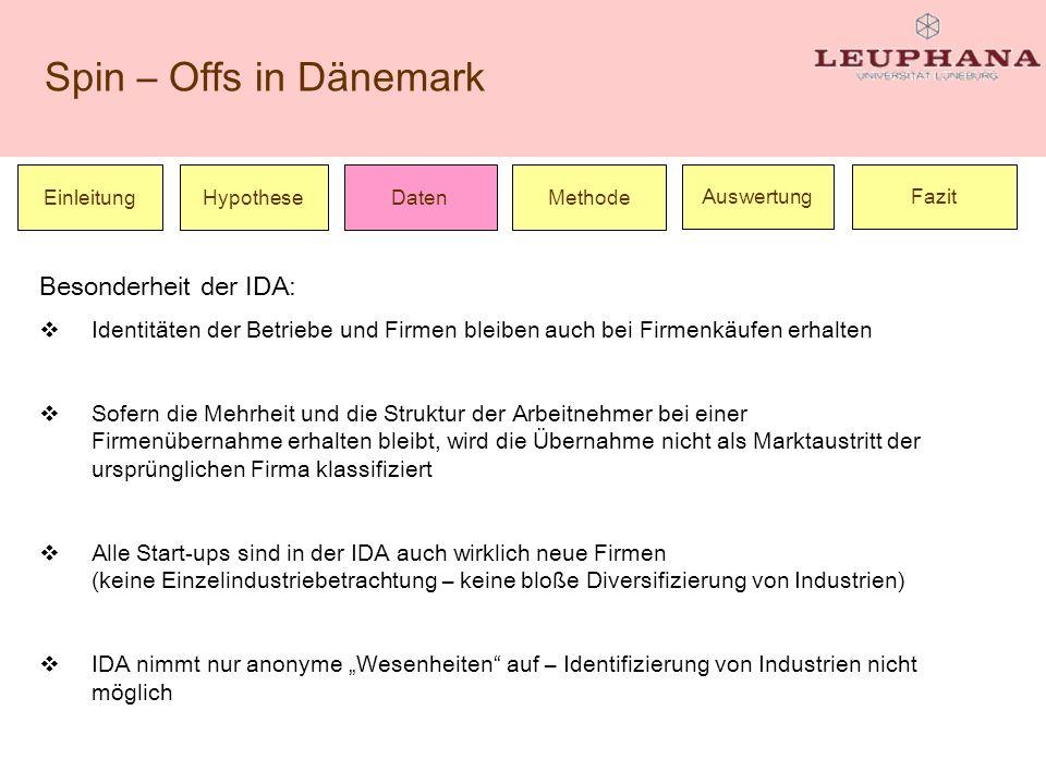 Spin – Offs in Dänemark Einleitung Besonderheit der IDA: Identitäten der Betriebe und Firmen bleiben auch bei Firmenkäufen erhalten Sofern die Mehrhei