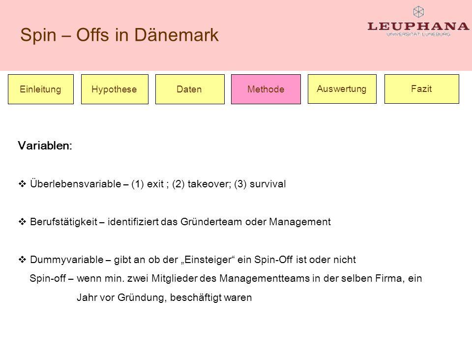 Spin – Offs in Dänemark Einleitung Hypothese Daten FazitAuswertung Methode Variablen: Überlebensvariable – (1) exit ; (2) takeover; (3) survival Beruf