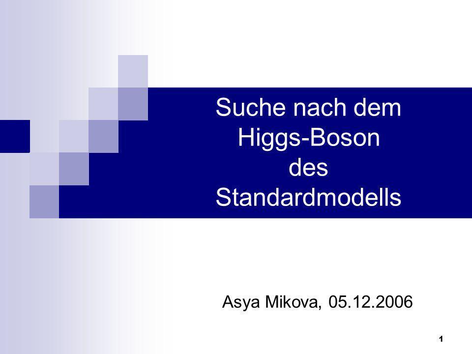 Suche nach dem Higgs-Boson des Standardmodells2 Asya Mikova 05.12.2006 Einleitung Theorie des Higgs Mechanismus Bisherige experimentelle Ergebnisse LHC Detektoren Higss–Suche am LHC Zusammenfassung