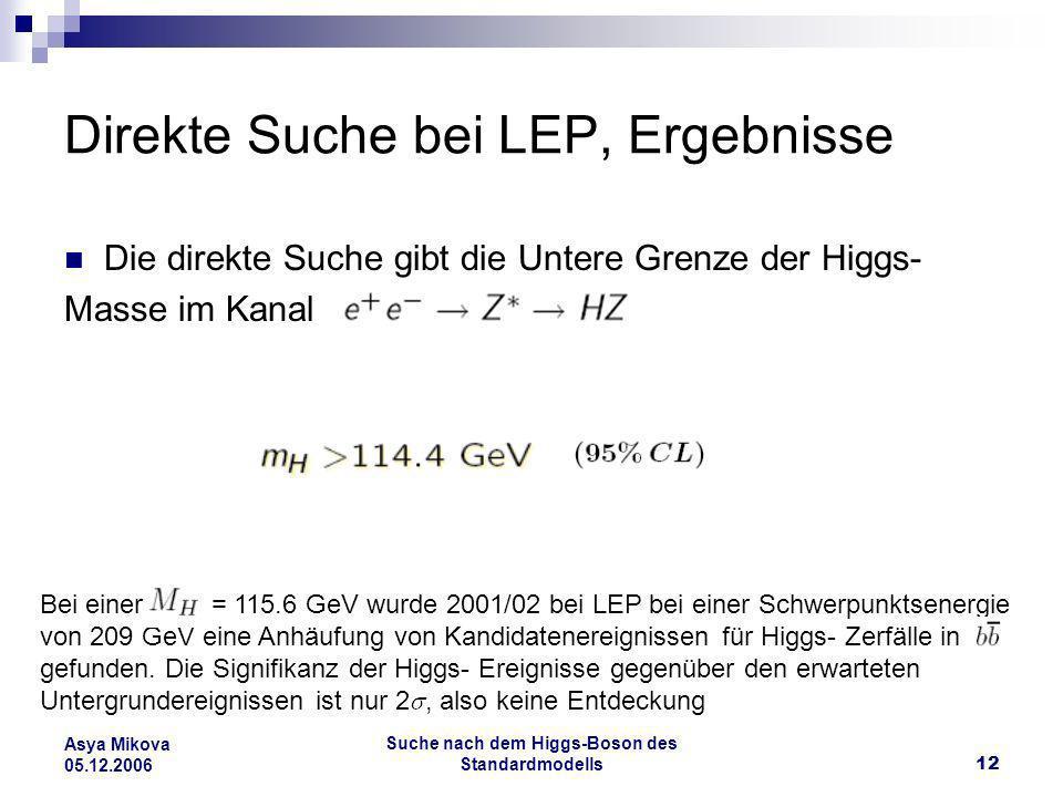 Suche nach dem Higgs-Boson des Standardmodells12 Asya Mikova 05.12.2006 Direkte Suche bei LEP, Ergebnisse Die direkte Suche gibt die Untere Grenze der
