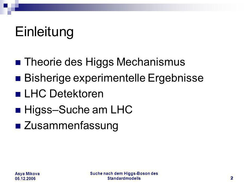 Suche nach dem Higgs-Boson des Standardmodells13 Asya Mikova 05.12.2006 Experimentelle Daten Direkte Suche Higgs erzeugt bei Gluon Fusion und Higgs-Strahlung Kann die Untere Grenze erhöhen Allerdings ist mit pp- Kollision viel schwieriger nach Higgs zu suchen, wegen Untergrundstrahlung Die jetzige Statistik reicht noch nicht für eine Higgs Entdeckung; braucht noch 2-3 Jahre für eine Higgs Masse bis 200 GeV ( obere Grenze des Detektors )