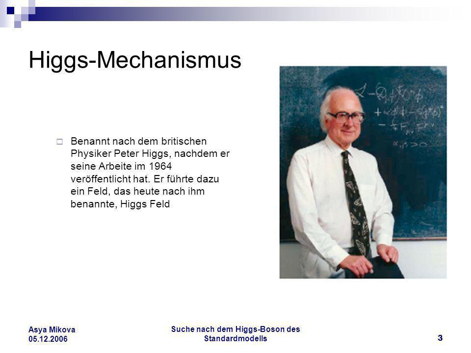 Suche nach dem Higgs-Boson des Standardmodells14 Asya Mikova 05.12.2006 Vier Experimente ATLAS und CMS -Ziel ist neue Elementarteilchen nachzuweisen, insbesondere das Higgs- Boson und supersymmetrische Teilchen zu entdecken, bei einer Schwerpunktsenergie von 14 TeV Zusätzlich ALICE und LHC-B, die sich auf andere Schwerpunkte konzentriert haben, wie z.B.