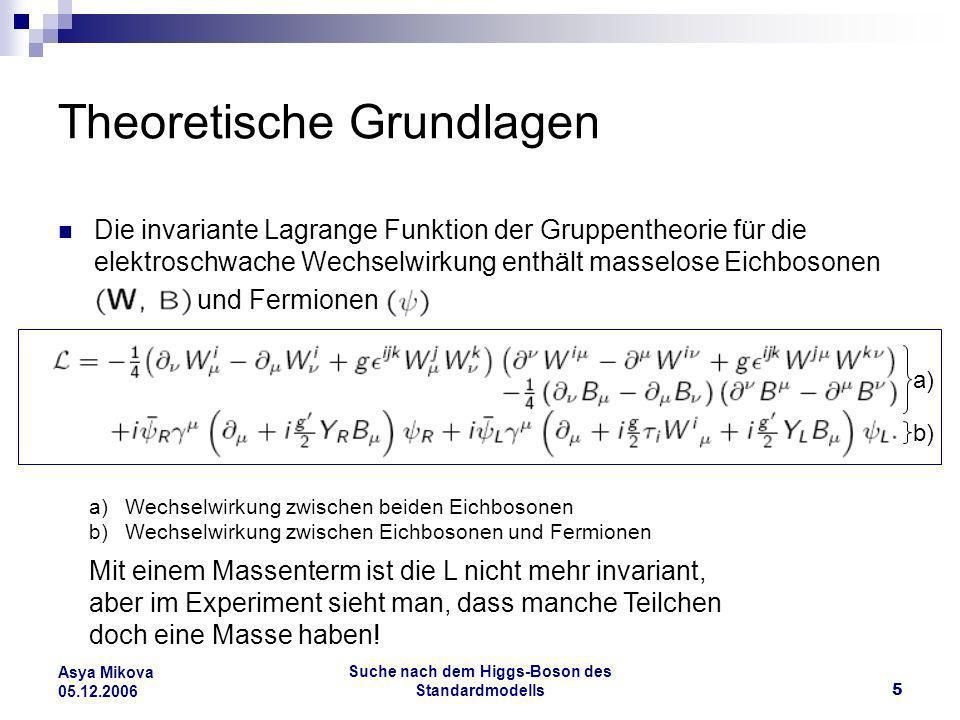 Suche nach dem Higgs-Boson des Standardmodells6 Asya Mikova 05.12.2006 Theoretische Grundlagen Theoretische Vorstellung für das Skalar-Feld, das für die Teilchenmassen verantwortlich ist.