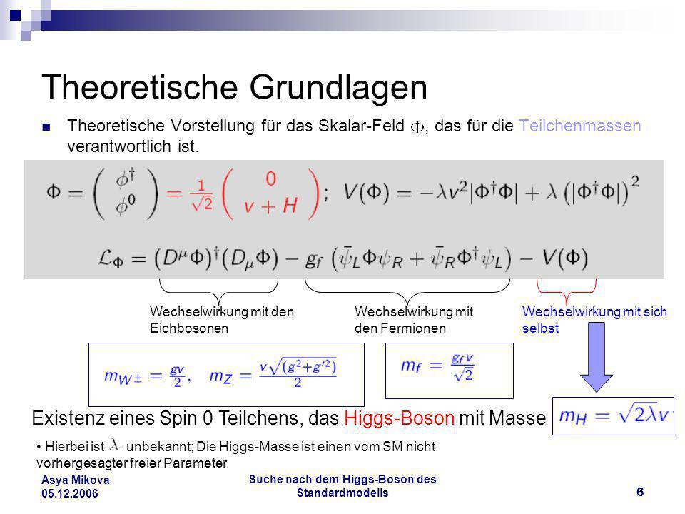 Suche nach dem Higgs-Boson des Standardmodells7 Asya Mikova 05.12.2006 Die Higgs-Masse, Theoretische Grenzen Obere Schranke: SM ist gültig bis zu einer endlichen Energie Untere Schranke: Vakuumstabilität, endliches Minimum für das Potential Man kann Grenzen für aus der Theorie setzen