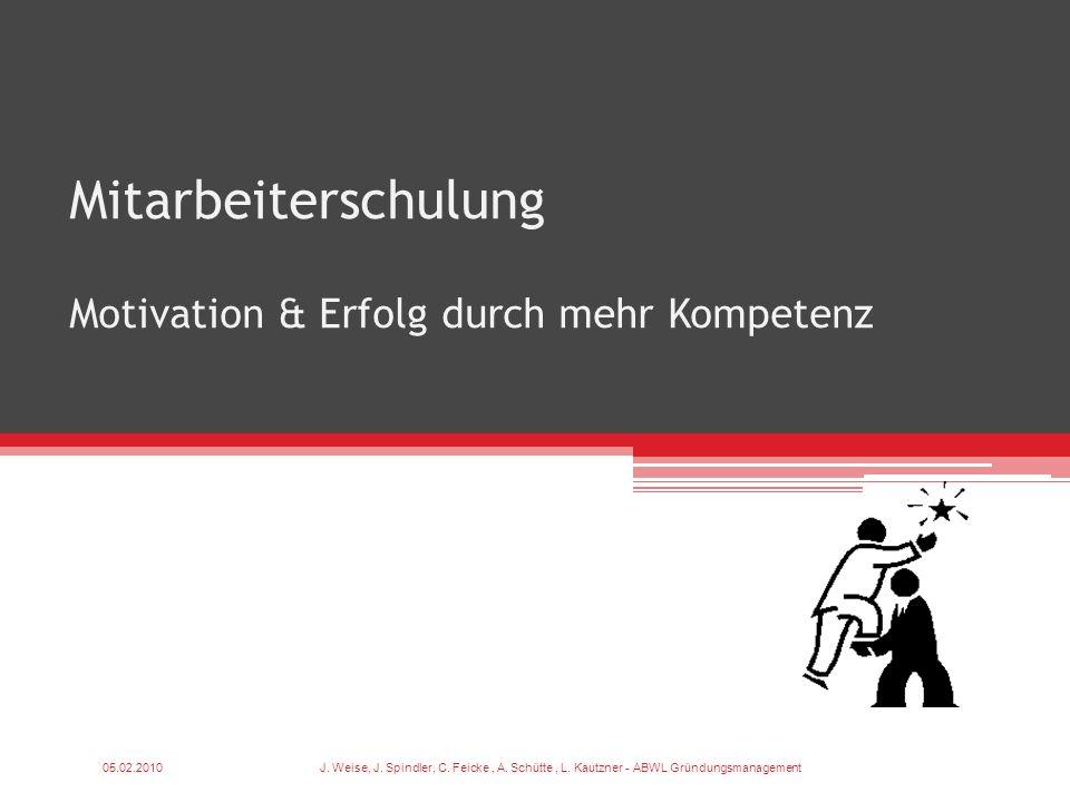 Mitarbeiterschulung Motivation & Erfolg durch mehr Kompetenz 05.02.2010J. Weise, J. Spindler, C. Feicke, A. Schütte, L. Kautzner - ABWL Gründungsmanag
