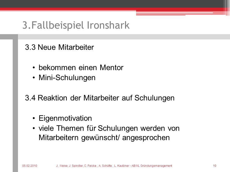 3.Fallbeispiel Ironshark 3.3 Neue Mitarbeiter bekommen einen Mentor Mini-Schulungen 3.4 Reaktion der Mitarbeiter auf Schulungen Eigenmotivation viele