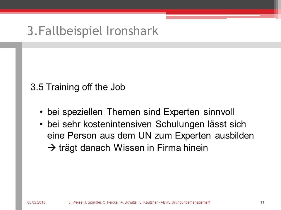3.Fallbeispiel Ironshark 3.5 Training off the Job bei speziellen Themen sind Experten sinnvoll bei sehr kostenintensiven Schulungen lässt sich eine Pe
