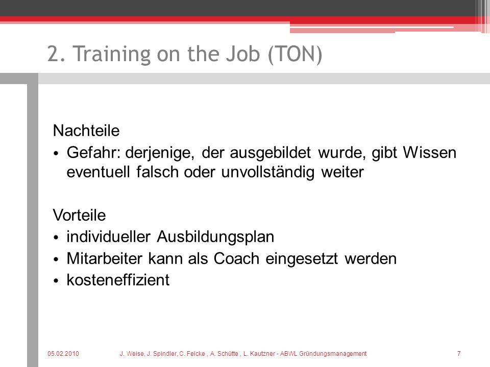 2. Training on the Job (TON) Nachteile Gefahr: derjenige, der ausgebildet wurde, gibt Wissen eventuell falsch oder unvollständig weiter Vorteile indiv