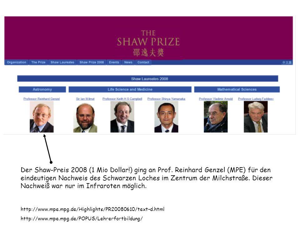 Der Shaw-Preis 2008 (1 Mio Dollar!) ging an Prof. Reinhard Genzel (MPE) für den eindeutigen Nachweis des Schwarzen Loches im Zentrum der Milchstraße.