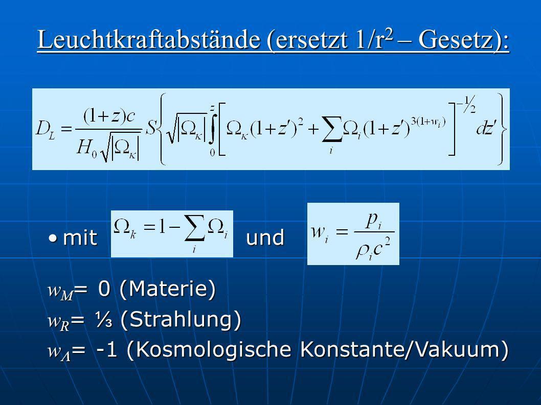 mit undmit und w M = 0 (Materie) w R = (Strahlung) w = -1 (Kosmologische Konstante/Vakuum) Leuchtkraftabstände (ersetzt 1/r 2 – Gesetz):