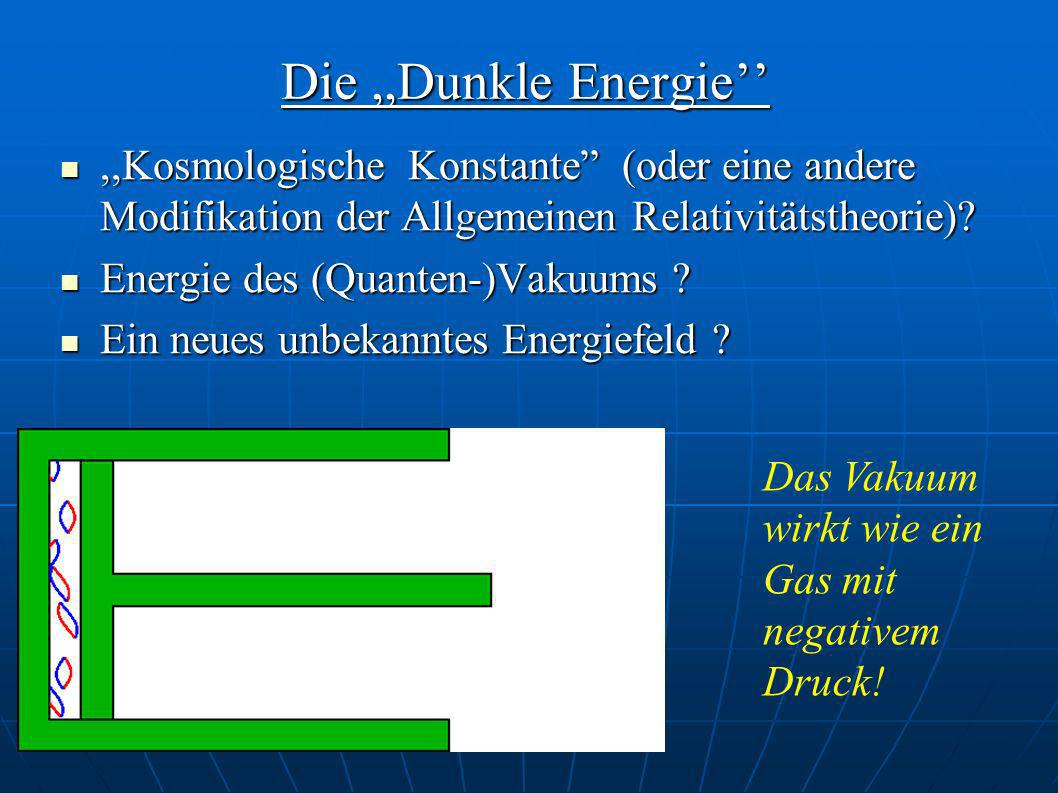 Die,,Dunkle Energie,,Kosmologische Konstante (oder eine andere Modifikation der Allgemeinen Relativitätstheorie)?,,Kosmologische Konstante (oder eine