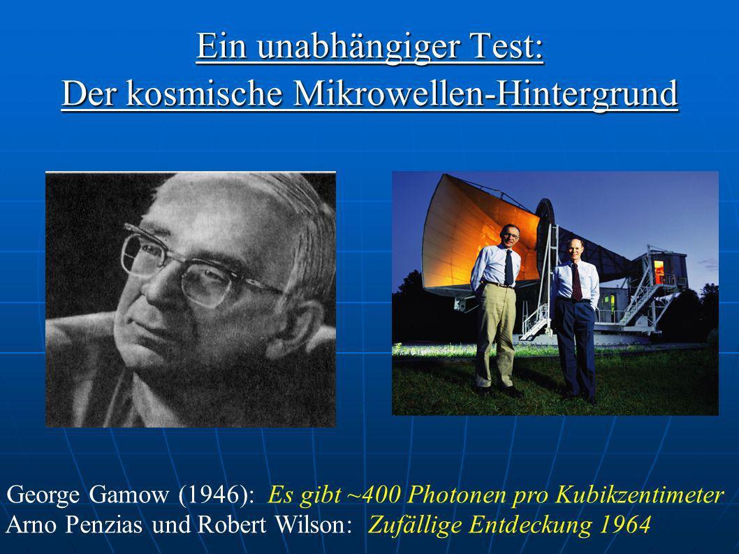 Ein unabhängiger Test: Der kosmische Mikrowellen-Hintergrund George Gamow (1946): Es gibt ~400 Photonen pro Kubikzentimeter Arno Penzias und Robert Wi