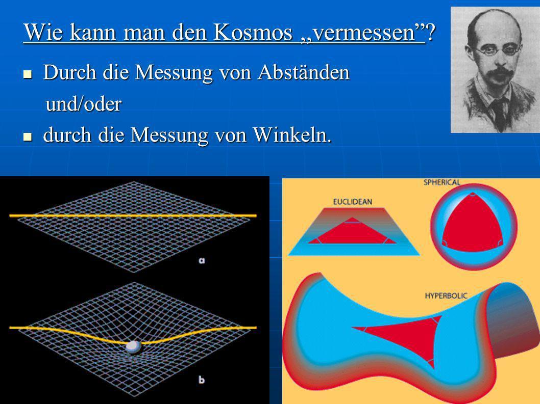 Wie kann man den Kosmos,,vermessen? Durch die Messung von Abständen Durch die Messung von Abständen und/oder und/oder durch die Messung von Winkeln. d