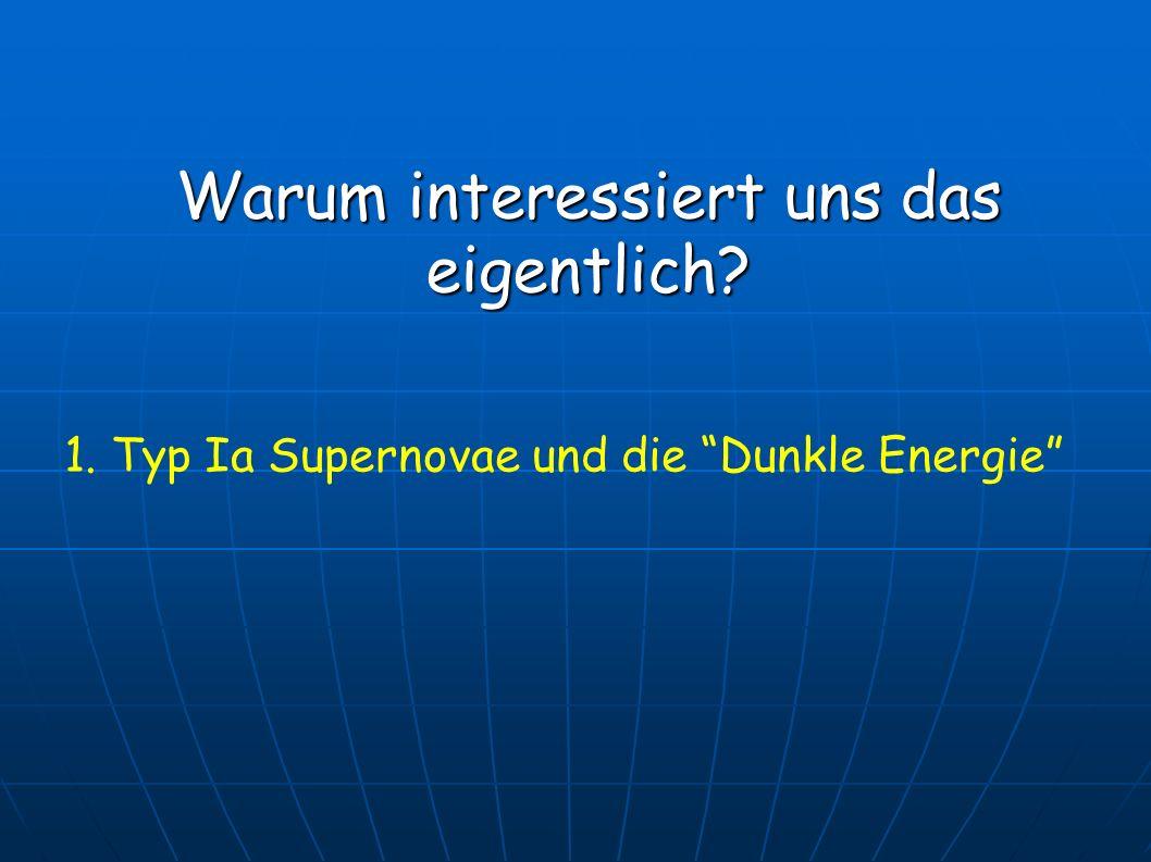 Warum interessiert uns das eigentlich? 1. Typ Ia Supernovae und die Dunkle Energie