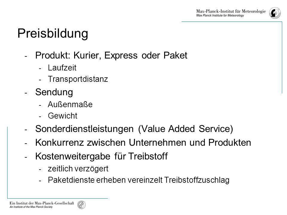 Preisbildung - Produkt: Kurier, Express oder Paket - Laufzeit - Transportdistanz - Sendung - Außenmaße - Gewicht - Sonderdienstleistungen (Value Added