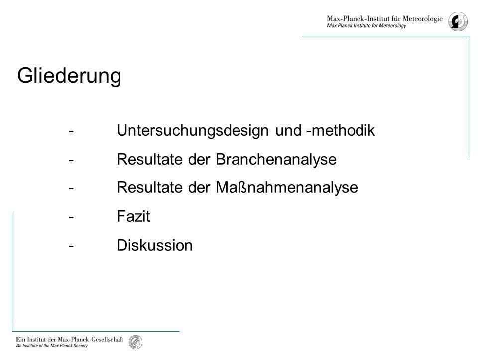 Gliederung - Untersuchungsdesign und -methodik - Resultate der Branchenanalyse - Resultate der Maßnahmenanalyse - Fazit - Diskussion