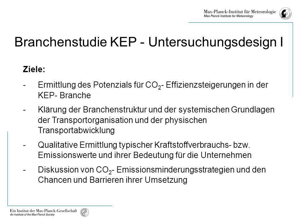 Branchenstudie KEP - Untersuchungsdesign I Ziele: -Ermittlung des Potenzials für CO 2 - Effizienzsteigerungen in der KEP- Branche -Klärung der Branche
