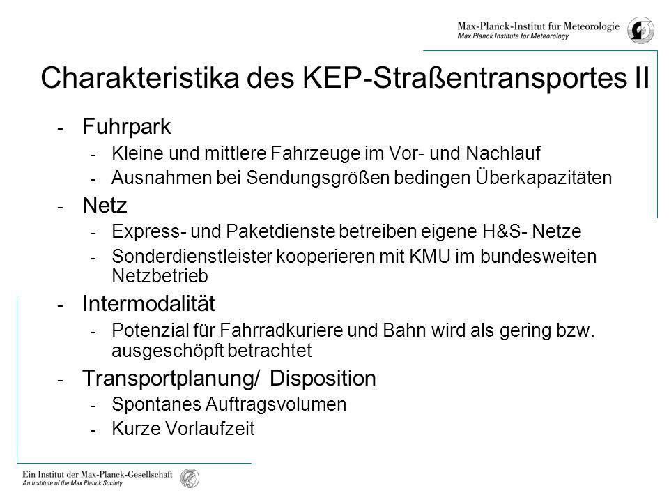 Charakteristika des KEP-Straßentransportes II - Fuhrpark - Kleine und mittlere Fahrzeuge im Vor- und Nachlauf - Ausnahmen bei Sendungsgrößen bedingen