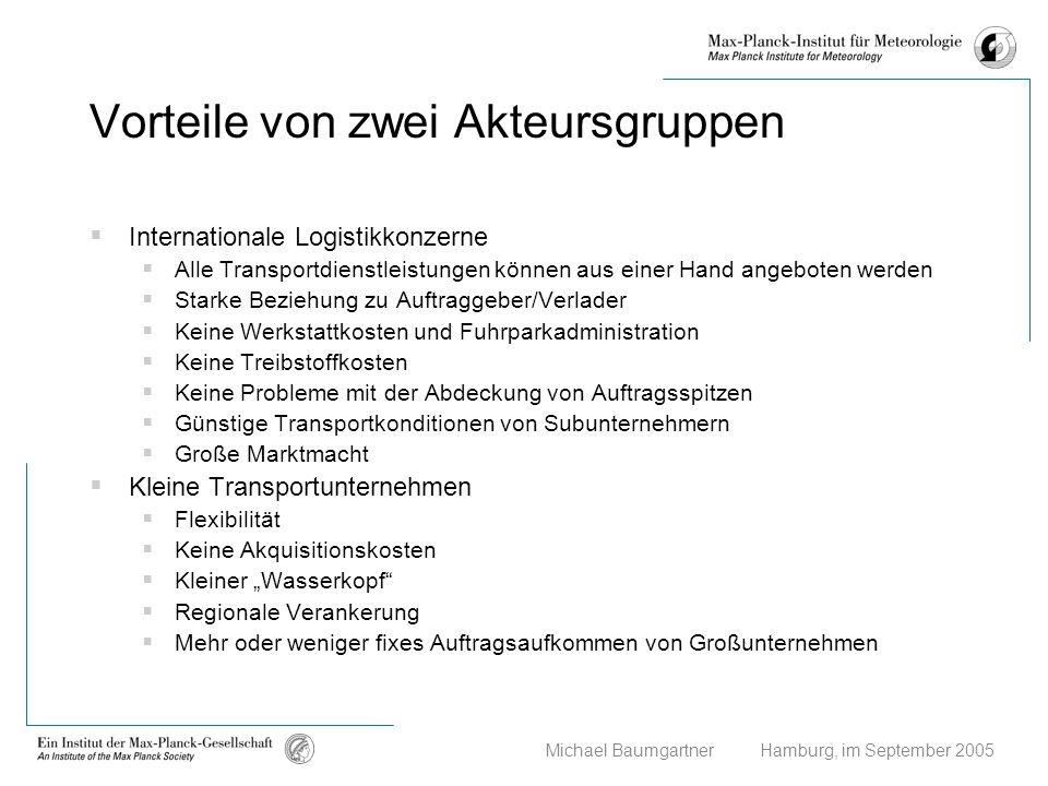 Michael Baumgartner Hamburg, im September 2005 Vorteile von zwei Akteursgruppen Internationale Logistikkonzerne Alle Transportdienstleistungen können
