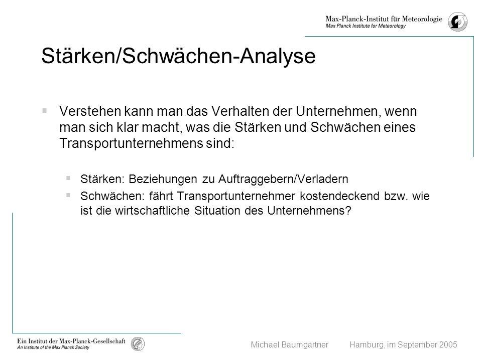 Michael Baumgartner Hamburg, im September 2005 Stärken/Schwächen-Analyse Verstehen kann man das Verhalten der Unternehmen, wenn man sich klar macht, w