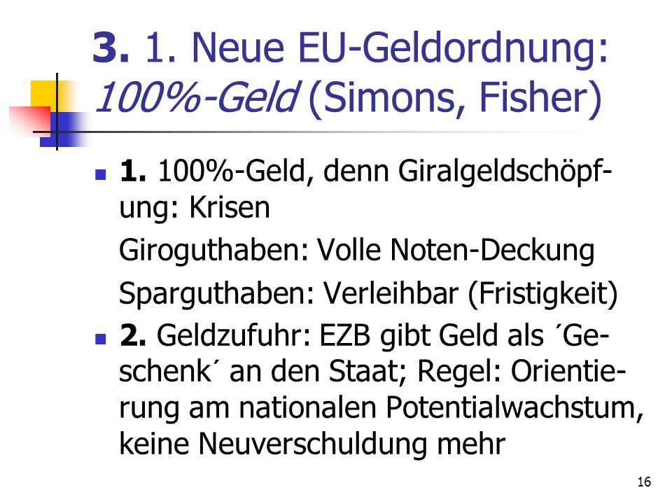 3. 1. Neue EU-Geldordnung: 100%-Geld (Simons, Fisher) 1. 100%-Geld, denn Giralgeldschöpf- ung: Krisen Giroguthaben: Volle Noten-Deckung Sparguthaben: