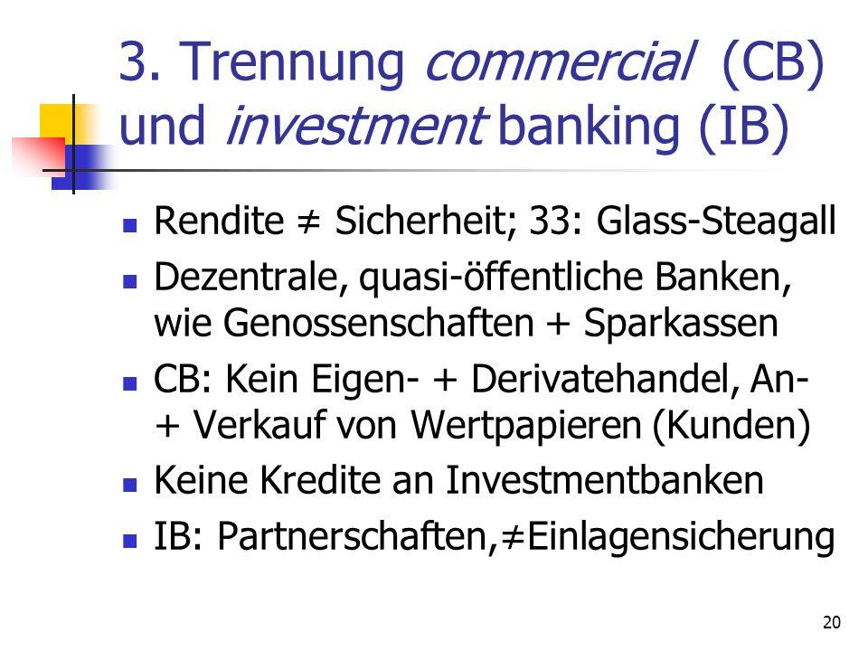 3. Trennung commercial (CB) und investment banking (IB) Rendite Sicherheit; 33: Glass-Steagall Dezentrale, quasi-öffentliche Banken, wie Genossenschaf