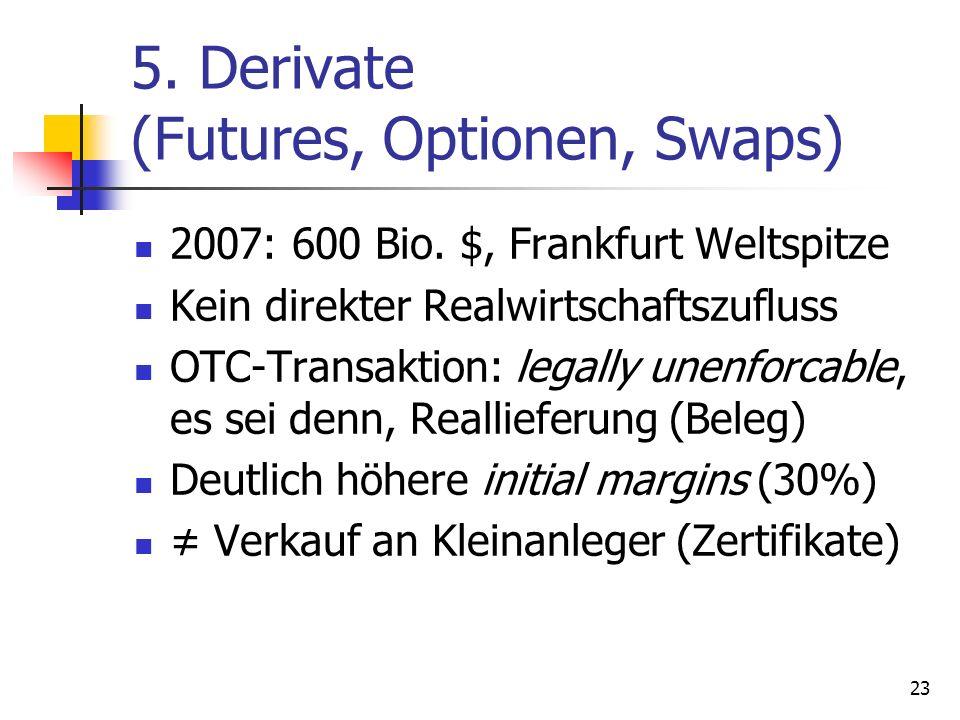 5. Derivate (Futures, Optionen, Swaps) 2007: 600 Bio. $, Frankfurt Weltspitze Kein direkter Realwirtschaftszufluss OTC-Transaktion: legally unenforcab