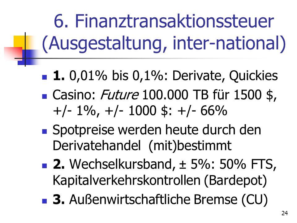 6. Finanztransaktionssteuer (Ausgestaltung, inter-national) 1. 0,01% bis 0,1%: Derivate, Quickies Casino: Future 100.000 TB für 1500 $, +/- 1%, +/- 10