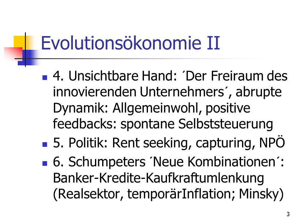 Evolutionsökonomie II 4. Unsichtbare Hand: ´Der Freiraum des innovierenden Unternehmers´, abrupte Dynamik: Allgemeinwohl, positive feedbacks: spontane