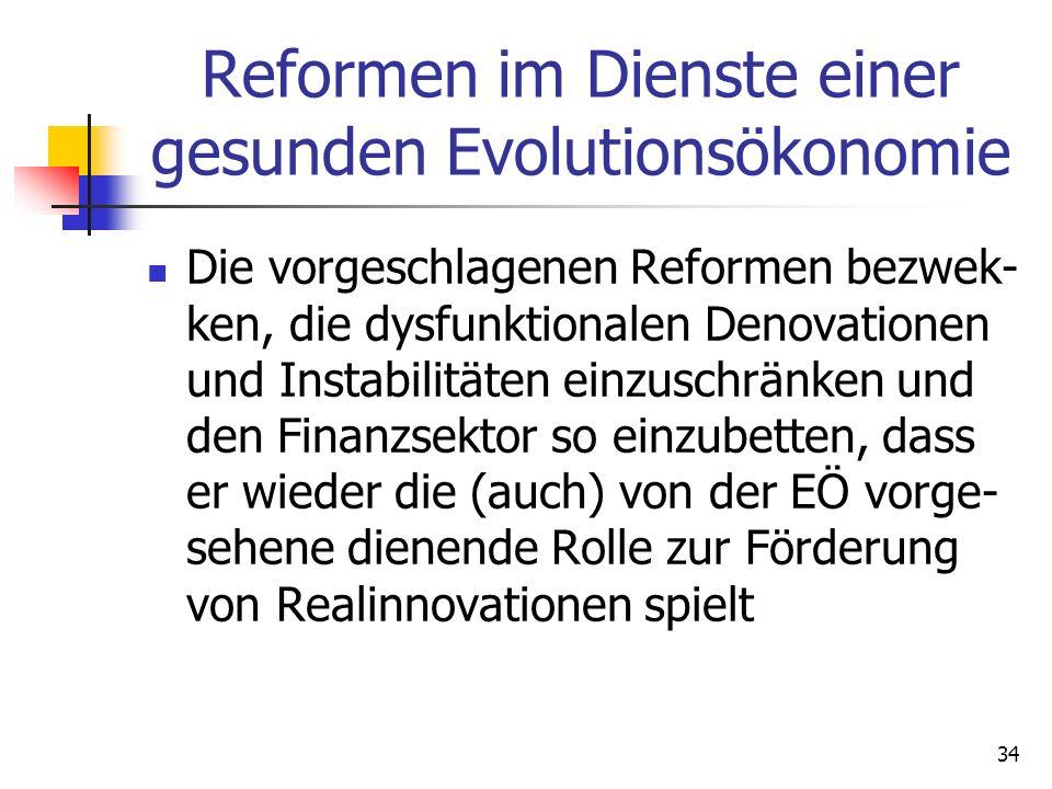 Reformen im Dienste einer gesunden Evolutionsökonomie Die vorgeschlagenen Reformen bezwek- ken, die dysfunktionalen Denovationen und Instabilitäten einzuschränken und den Finanzsektor so einzubetten, dass er wieder die (auch) von der EÖ vorge- sehene dienende Rolle zur Förderung von Realinnovationen spielt 34