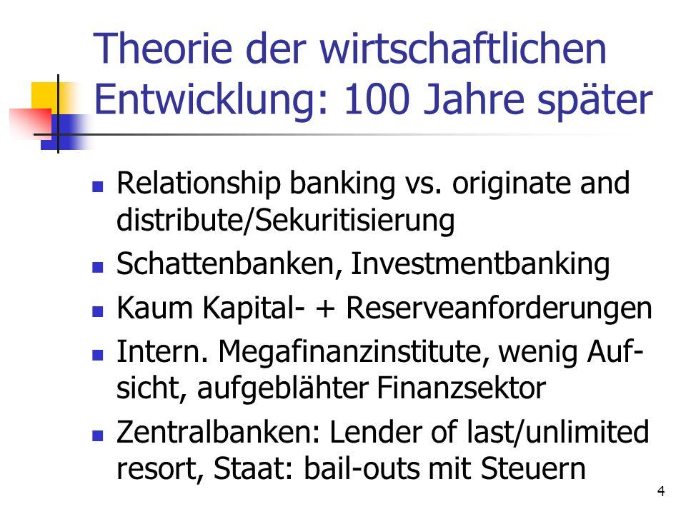 Theorie der wirtschaftlichen Entwicklung: 100 Jahre später Relationship banking vs. originate and distribute/Sekuritisierung Schattenbanken, Investmen