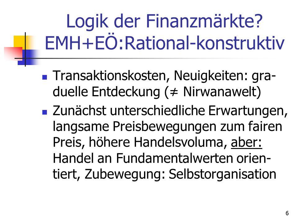 Logik der Finanzmärkte? EMH+EÖ:Rational-konstruktiv Transaktionskosten, Neuigkeiten: gra- duelle Entdeckung ( Nirwanawelt) Zunächst unterschiedliche E