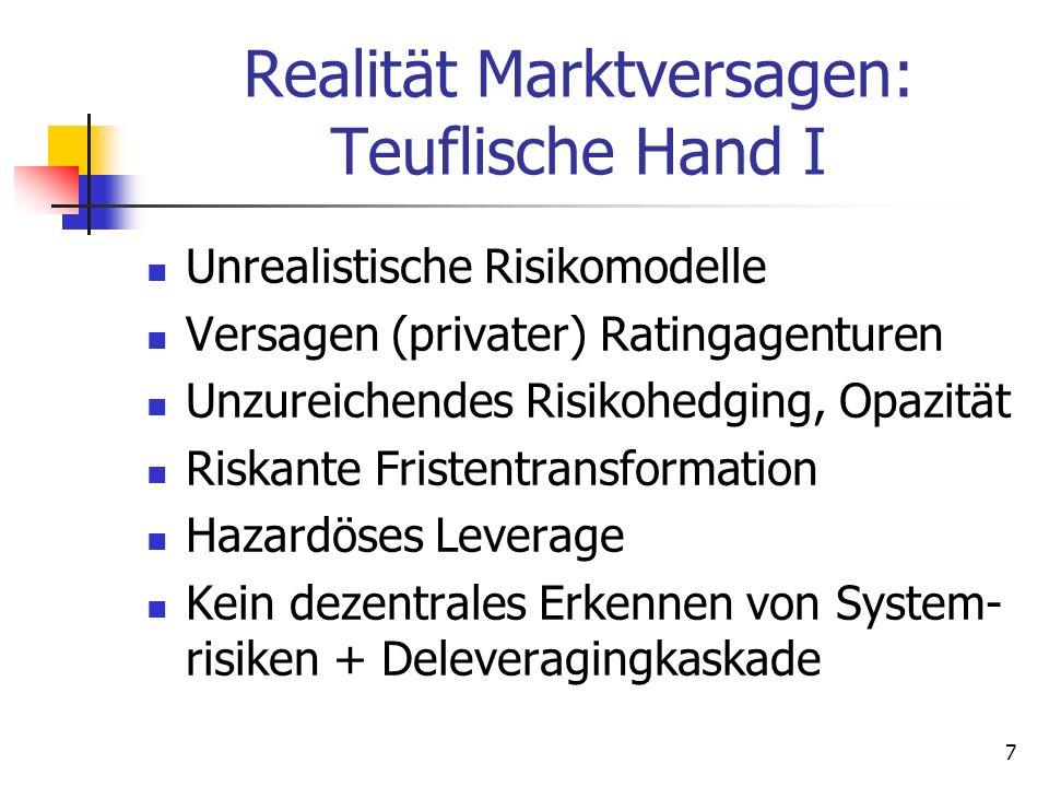 Realität Marktversagen: Teuflische Hand I Unrealistische Risikomodelle Versagen (privater) Ratingagenturen Unzureichendes Risikohedging, Opazität Riskante Fristentransformation Hazardöses Leverage Kein dezentrales Erkennen von System- risiken + Deleveragingkaskade 7
