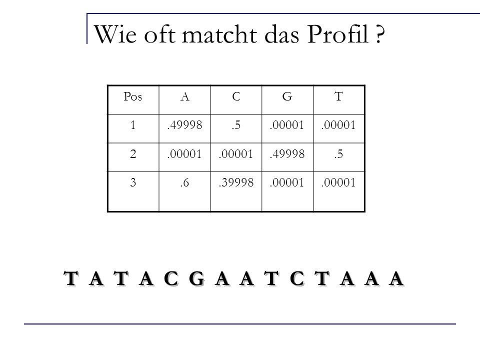 T A T A C G A A T C T A A A PosACGT 1.49998.5.00001 2.49998.5 3.6.39998.00001 Wie oft matcht das Profil