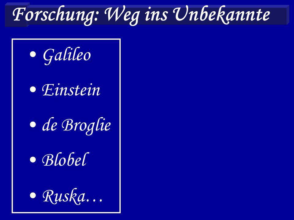 Forschung: Weg ins Unbekannte Galileo Einstein de Broglie Blobel Ruska…