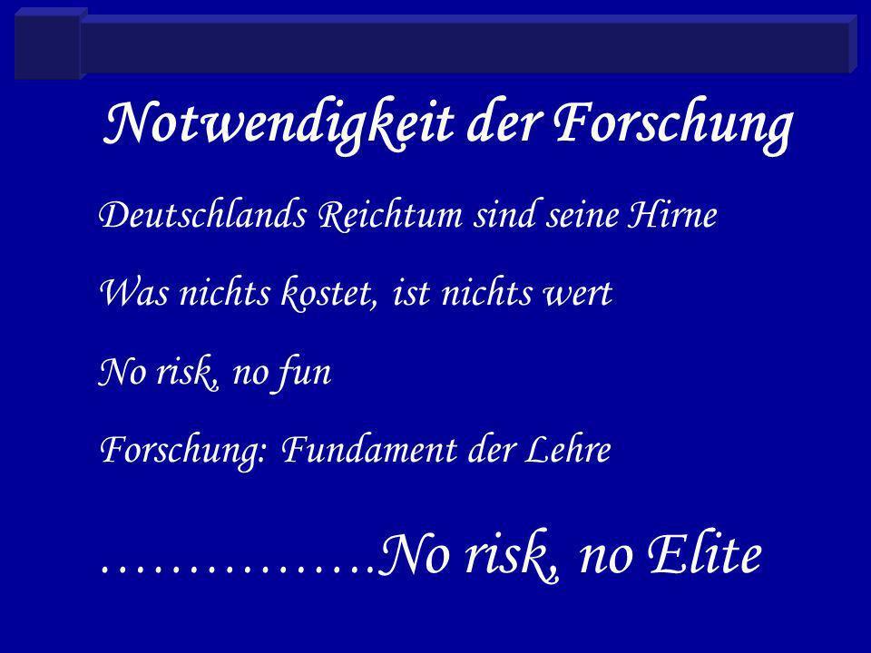 Notwendigkeit der Forschung Deutschlands Reichtum sind seine Hirne Was nichts kostet, ist nichts wert No risk, no fun Forschung: Fundament der Lehre …………….