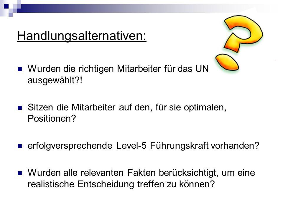 Handlungsalternativen: Wurden die richtigen Mitarbeiter für das UN ausgewählt?! Sitzen die Mitarbeiter auf den, für sie optimalen, Positionen? erfolgv