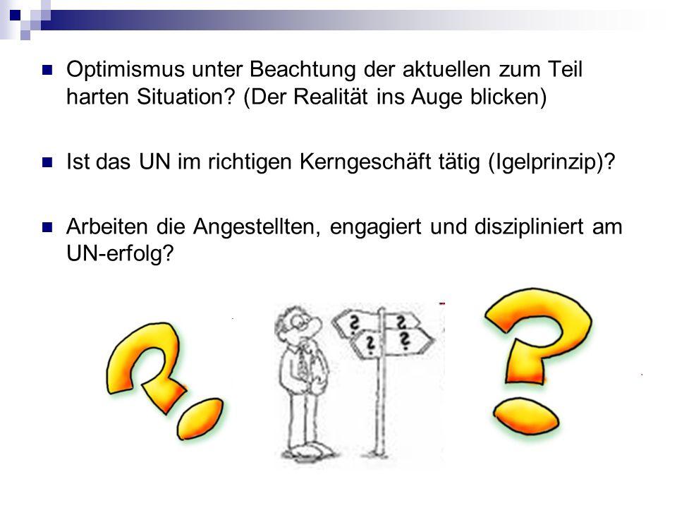Optimismus unter Beachtung der aktuellen zum Teil harten Situation? (Der Realität ins Auge blicken) Ist das UN im richtigen Kerngeschäft tätig (Igelpr