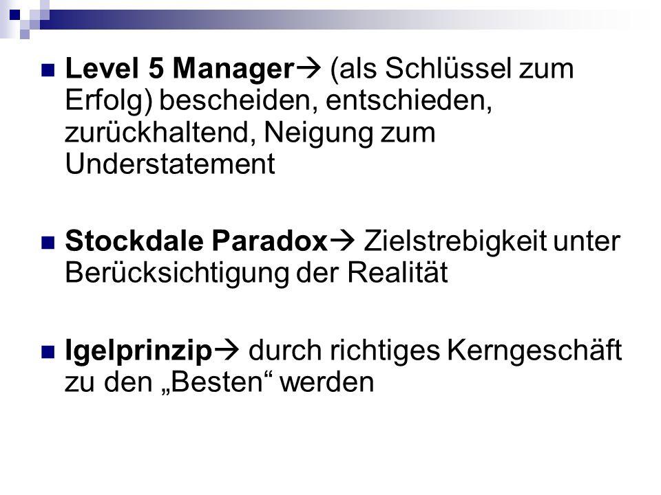 Level 5 Manager (als Schlüssel zum Erfolg) bescheiden, entschieden, zurückhaltend, Neigung zum Understatement Stockdale Paradox Zielstrebigkeit unter