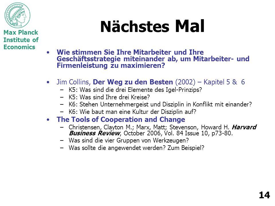 Max Planck Institute of Economics 14 Nächstes Mal Wie stimmen Sie Ihre Mitarbeiter und Ihre Geschäftsstrategie miteinander ab, um Mitarbeiter- und Firmenleistung zu maximieren.