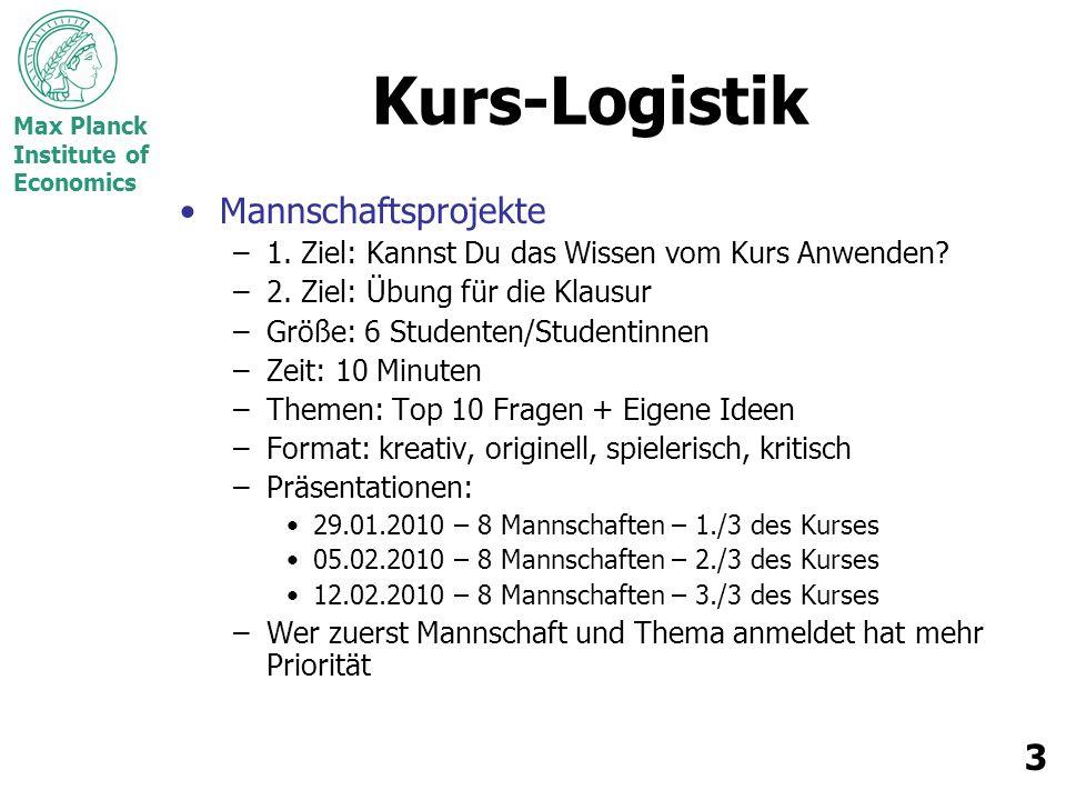 Max Planck Institute of Economics 3 Kurs-Logistik Mannschaftsprojekte –1. Ziel: Kannst Du das Wissen vom Kurs Anwenden? –2. Ziel: Übung für die Klausu