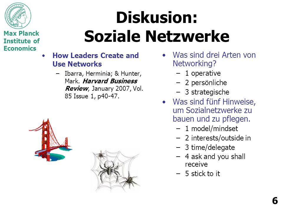 Max Planck Institute of Economics 7 Netwerke & Networking Netzwerk: Customized Modular Routine Networking: Strategic Personal Operational Alter: Junger Älter