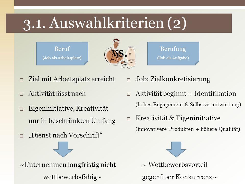3.1. Auswahlkriterien (2) Beruf (Job als Arbeitsplatz) Berufung (Job als Aufgabe) Ziel mit Arbeitsplatz erreicht Aktivität lässt nach Eigeninitiative,